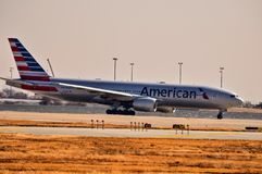 American Airlines Boeing 777 preparing for takeoff stock photography
