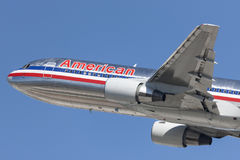 American Airlines Boeing 767 taking off from Los Angeles International Airport. Stock Photos