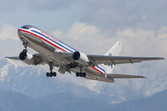 American Airlines Boeing 767 taking off from Los Angeles International Airport. Stock Photo