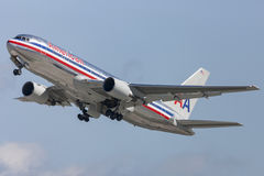 American Airlines Boeing 767 taking off from Los Angeles International Airport. Royalty Free Stock Image