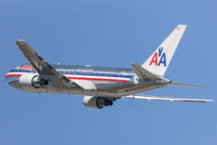 American Airlines Boeing 767 taking off from Los Angeles International Airport. Royalty Free Stock Photography