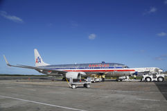 American Airlines and Delta Airlines planes at Punta Cana Airport, Dominican Republic Royalty Free Stock Photography
