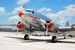American Airlines Flagship DC-3. Parked on the tarmac at the Denton Airport in Denton, Texas for the 2010 Airshow Royalty Free Stock Images