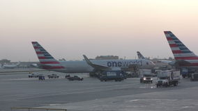 American airlines jet in early morning stock video footage