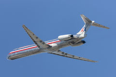 American Airlines McDonnell Douglas MD-82 aircraft taking off from Los Angeles International Airport. Los Angeles, California, USA - March 10, 2010: American stock image