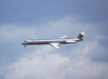American Airlines McDonnell Douglas MD-83 in New York sky before landing in La Guardia Airport Royalty Free Stock Image