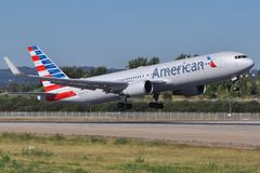American Airlines New Colors. American Airlines Boeing 767 taking off in the new color scheme. AA is one of the World's of biggest carries, serving 4 continents Stock Photo