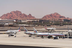 American Airlines parked at Phoenix SkyHarbor Airport. May 28th 2016. (Reuters) Stock Photography