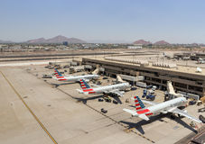 American Airlines parked at Phoenix SkyHarbor Airport. May 28th 2016. (Reuters) Royalty Free Stock Photography