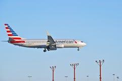 American Airlines reklamy pasażer samolotu odrzutowego Zdjęcie Royalty Free