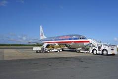 American Airlines-vliegtuig bij de Internationale Luchthaven van Punta Cana, Dominicaanse Republiek Stock Fotografie