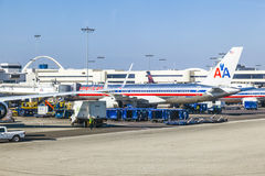 American Airlines voyagent en jet Boeing 767 Photographie stock libre de droits