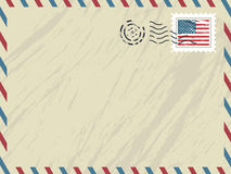 American airmail envelope. Envelope with airmail stripes, post mark and american stamp Stock Photos