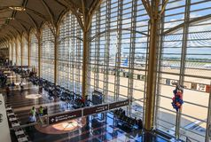 American airport terminal with bright windows Stock Photography