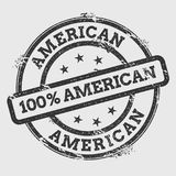 American 100% American rubber stamp isolated on. American 100% American rubber stamp isolated on white background. Grunge round seal with text, ink texture and Stock Photo