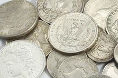 American ancien silver coins Stock Photo