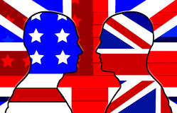 American And UK Flag Heads 31 Stock Photo