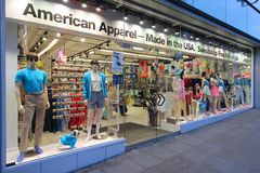 American Apparel. MANCHESTER, UK - APRIL 23: American Apparel fashion store on April 23, 2013 in Manchester, UK. American Apparel was founded in 1989 and has 273 royalty free stock photo