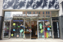 American Apparel. An American Apparel store in Morningside Heights, New York City. American Apparel is a clothing manufacturer, distributor, and retailer that royalty free stock photo