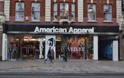 American Apparel store Oxford Street London. American Apparel store  on Oxford Street in London England Royalty Free Stock Photos