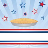 American Apple Pie. American as apple pie against a patriotic background of stars. There is a red, white and blue banner at the bottom for your copy Stock Images