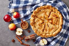 American apple pie on a concrete table royalty free stock image