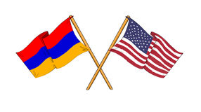 American and Armenian alliance and friendship. Cartoon-like drawings of flags showing friendship between Armenia and USA Stock Photography