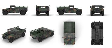 American armored vehicle HMMWV Humvee renders set from different angles on a white. 3D illustration. American armored vehicle HMMWV Humvee renders set from Stock Photo