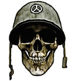 American army helmet - dead soldier. A human skull with a soldiers helmet with a peace symbol Stock Photography