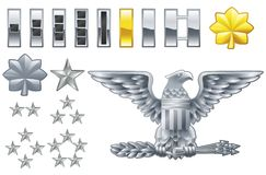 American army officer ranks insignia icons stock illustration