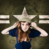 American army Pinup girl. Grunge fashion style Royalty Free Stock Photo