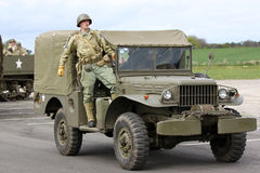 American Army world war 2 G.I. soldier. American Army WW2 soldier and jeep at re-enactment day Stock Photography