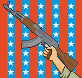 American Assault Rifle. Vector Illustration of a fist holding an assault rifle in front of American stars and stripes Stock Photography