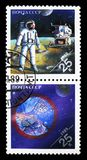 American astronaut on Moon; Mars, planetary body, Space achievem. MOSCOW, RUSSIA - MARCH 31, 2018: A stamp printed in USSR (Russia) shows American astronaut on Royalty Free Stock Image