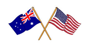 American and Australian alliance and friendship. Cartoon-like drawings of flags showing friendship between Australia and USA Stock Photography
