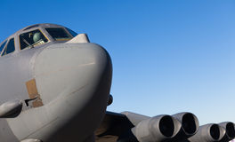 American B-52 Bomber Jet. Close up view of the American military B-52 Stratofortress long range bomber jet airplane Royalty Free Stock Photography