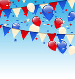 American background with balloons in the blue sky Royalty Free Stock Image