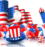 American Background with Balloons, Party Hats, Firework Rocket, Flag and Confetti. Illustration American Background with Balloons, Party Hats, Firework Rocket Royalty Free Stock Photos