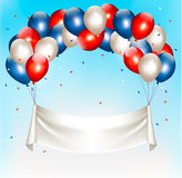 American background with colorful balloons for 4th of July. In blue sky. Vector royalty free illustration
