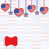 American background with hanging hearts and stars Stock Image