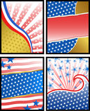 American backgrounds. Set of american theme backgrounds with colors of the USA flag Stock Photo
