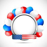 American Badge with Ballon. Illustration of colorful balloon with American flag color ribbon Royalty Free Stock Photos