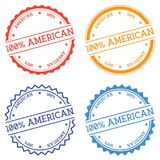 100% American badge isolated on white background. Flat style round label with text. Circular emblem vector illustration Stock Image