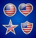 American badges. Four american badges  on blue background Royalty Free Stock Images
