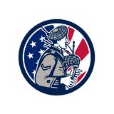 American Bagpiper USA Flag Icon. Icon retro style illustration of an American bagpiper playing the Scottish Great Highland bagpipes with United States of America Royalty Free Stock Photography