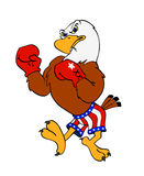 American Bald Eagle. Hand drawn cartoon of a boxing bald eagle Stock Image