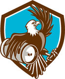 American Bald Eagle Beer Keg Crest Retro Stock Image