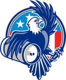 American Bald Eagle Beer Keg Flag Circle Retro Stock Photo