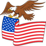 American Bald Eagle Carrying USA Flag Cartoon Stock Photos