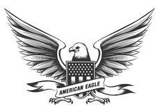 American bald eagle emblem. Or badge with shield, stripes and stars isolated on white background Stock Image